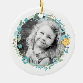 Personalisiertes Fotoempfindlicher BlumenWreath Rundes Keramik Ornament