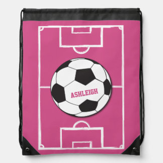 Personalisiertes Fußball-Ball-und Feld-Rosa Sportbeutel