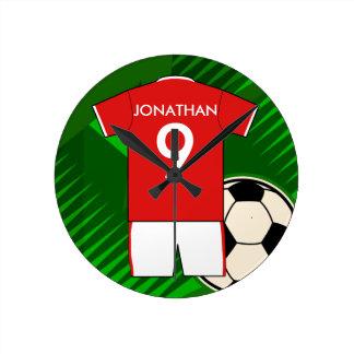 Personalisiertes Fußball-Jerseyrot und -WEISS Runde Wanduhr