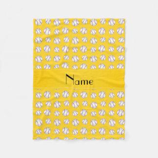 Personalisiertes gelbes Baseballnamensmuster Fleecedecke