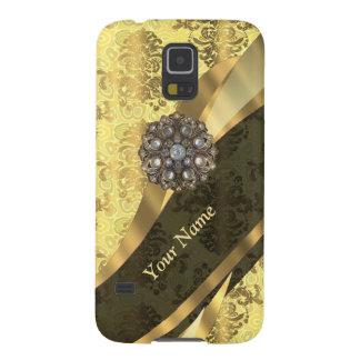 Personalisiertes gelbes Damastsahnemuster Galaxy S5 Hüllen