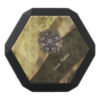 Personalisiertes gelbes Damastsahnemuster Schwarze Bluetooth Lautsprecher