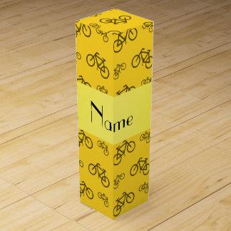 Personalisiertes gelbes Fahrradnamensmuster Wein-Geschenkverpackung
