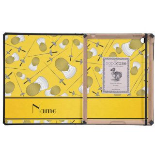 Personalisiertes gelbes fechtendes Namensmuster iPad Etui