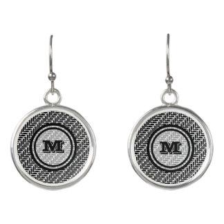 Personalisiertes geometrisches Schwarzweiss-Muster Ohrringe