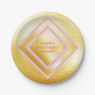 Personalisiertes glänzendes Zitronen-Rosa Marie Pappteller 17,8 Cm