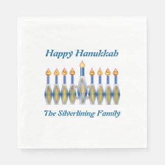 Personalisiertes glückliches Chanukka Menorah Papierservietten