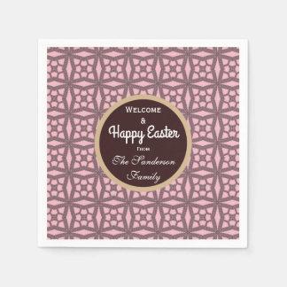 Personalisiertes glückliches Ostern-Rosa u. Servietten