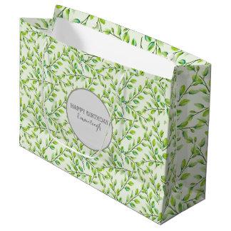Personalisiertes Grün-Blätter und Niederlassungen Große Geschenktüte