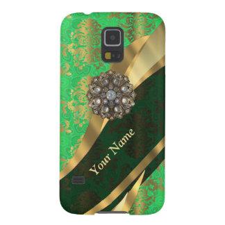 Personalisiertes Grün- und Golddamastmuster Samsung Galaxy S5 Hüllen