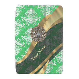 Personalisiertes grünes und weißes Damastmuster iPad Mini Cover