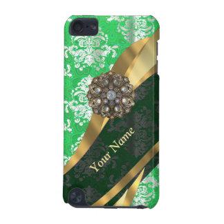 Personalisiertes grünes und weißes Damastmuster iPod Touch 5G Hülle