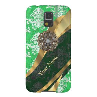Personalisiertes grünes und weißes Damastmuster Samsung S5 Cover