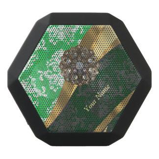 Personalisiertes grünes und weißes Damastmuster Schwarze Bluetooth Lautsprecher