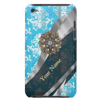 Personalisiertes hellblaues Vintages Damastmuster iPod Case-Mate Case
