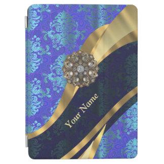 Personalisiertes helles blaues Damastmuster iPad Air Cover