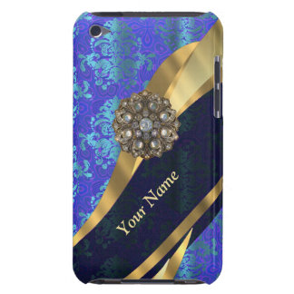 Personalisiertes helles blaues Damastmuster iPod Touch Cover