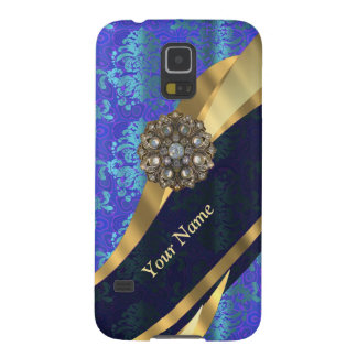 Personalisiertes helles blaues Damastmuster Samsung Galaxy S5 Hüllen