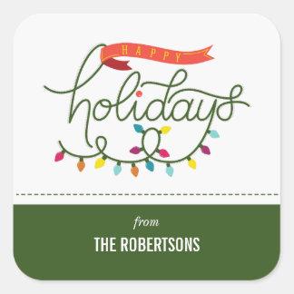 Personalisiertes helles Feiertags-Weihnachten Quadratischer Aufkleber
