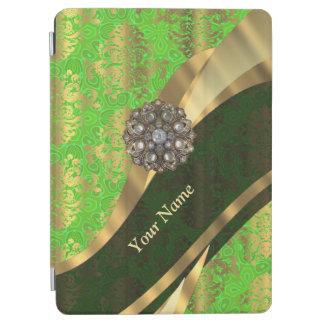 Personalisiertes hellgrünes Damastmuster iPad Air Cover