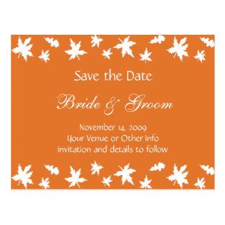 Personalisiertes Herbst-Blätter Save the Date Postkarte