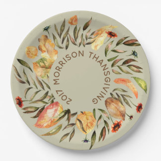 Personalisiertes Herbst-Blätter windt Papierplatte Pappteller