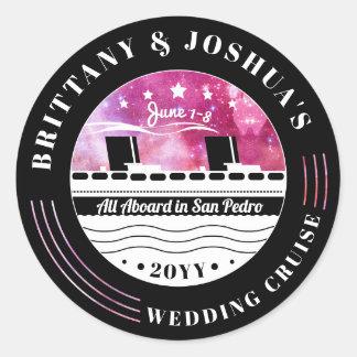 Personalisiertes Hochzeits-Kreuzfahrt-Rosa-Starry Runder Aufkleber