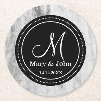 Personalisiertes Hochzeits-Monogramm-Marmor-Muster Runder Pappuntersetzer