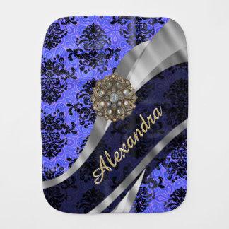 Personalisiertes hübsches blaues girly baby spucktuch