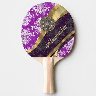 Personalisiertes hübsches girly lila Damastmuster Tischtennis Schläger