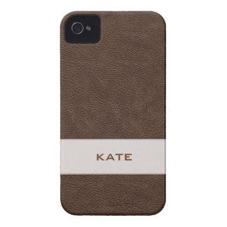 Personalisiertes Imitat-Brown-Leder iPhone 4 Cover