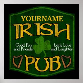 Personalisiertes irisches Pub-Zeichen Poster