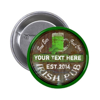 Personalisiertes irisches Pubzeichen Buttons