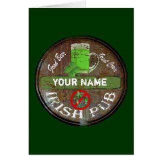 Personalisiertes irisches Pubzeichen Grußkarte