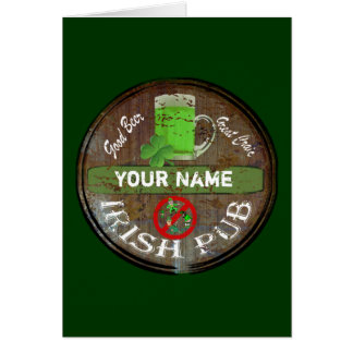 Personalisiertes irisches Pubzeichen Karte