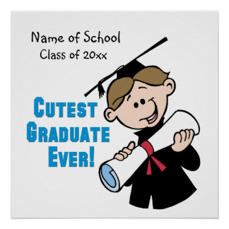 Personalisiertes Jungen-Abschluss-Plakat