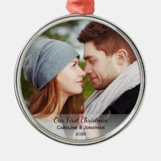 Personalisiertes Jungvermählten-Foto unser erstes Silbernes Ornament