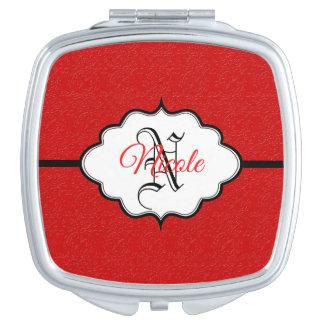 Personalisiertes karminrotes Rot Taschenspiegel