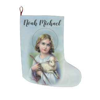 Personalisiertes Kind Jesus mit Lamm Großer Weihnachtsstrumpf