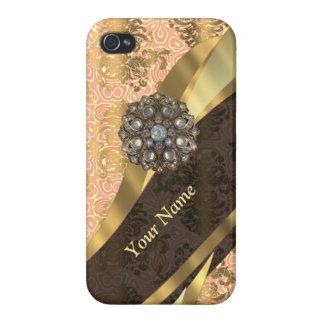 Personalisiertes korallenrotes Vintages iPhone 4/4S Hülle