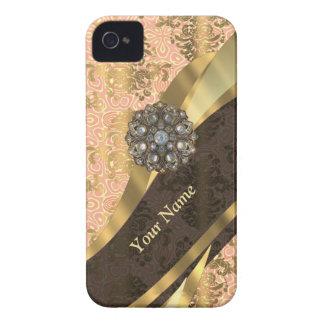 Personalisiertes korallenrotes Vintages iPhone 4 Hülle