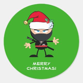 Personalisiertes Krieger-Grün Weihnachtsmanns Runder Aufkleber