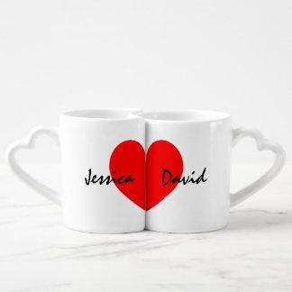 Personalisiertes Liebhaber-Tassen-Set mit Namen Partnertassen