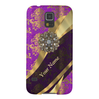 Personalisiertes lila Damastmuster Galaxy S5 Hülle
