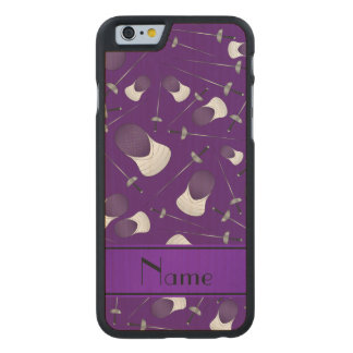 Personalisiertes lila fechtendes Namensmuster Carved® iPhone 6 Hülle Ahorn