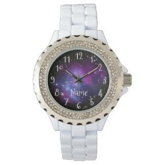 Personalisiertes lila Galaxie-Raum-Foto Armbanduhr