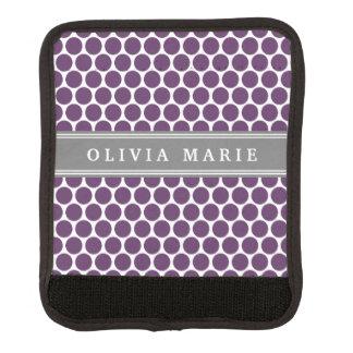 Personalisiertes lila Polka-Punkt-Namensmuster Koffergriffwickel
