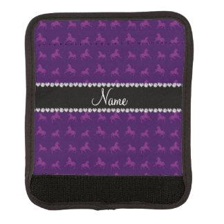 Personalisiertes lila Unicornnamensmuster Koffergriffwickel