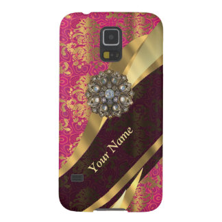 Personalisiertes magentarotes Damastmuster Galaxy S5 Cover