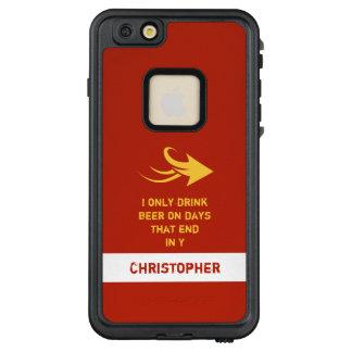 Personalisiertes männliches Biernamenszitat rot LifeProof FRÄ' iPhone 6/6s Plus Hülle